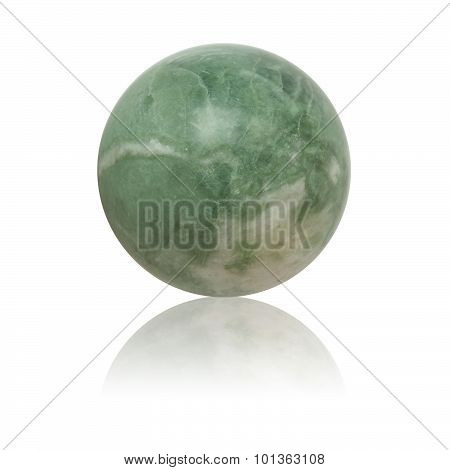 Green nephrite ball