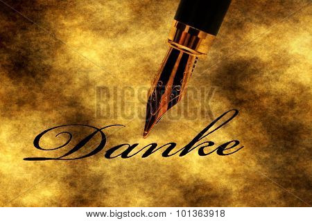 Danke Text And Fountain Pen