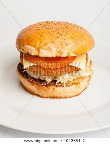 Hamburger With Tomato And Cheese