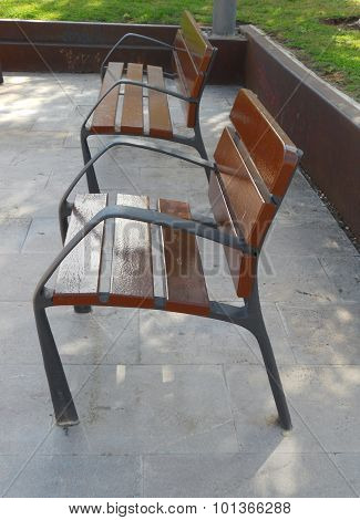 Metal and wood street chairs