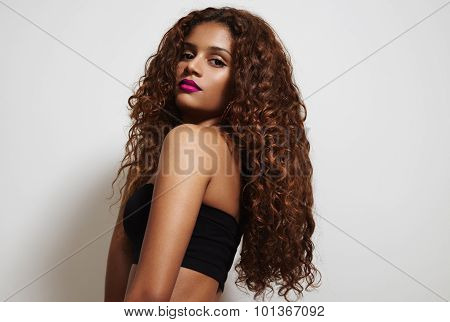 Beauty Latin Woman With Curly Hair