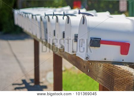Line Of The American Post Office Boxes Outside