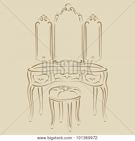 Dressing console.