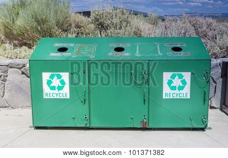 Recycling Concept: One Separate Recycling Trash Can Placed Outdoors In Valley