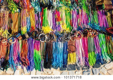 Showcases with bracelets and necklaces on the street market in Rio de Janeiro, Brazil.