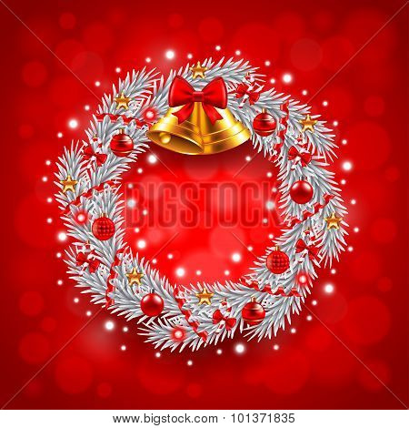 White Christmas Wreath On Red Background
