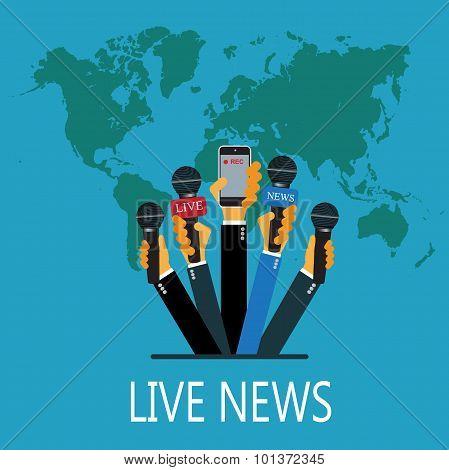 vector live report concept, live news, hands of journalists with microphones and recording cellphone