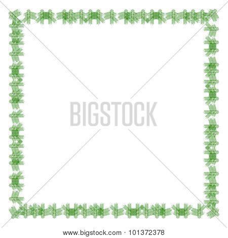 Stylized decorative frame of spruce twigs