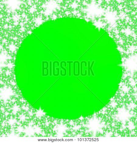 Ornamental round border of snowflakes on green monochromatic background.