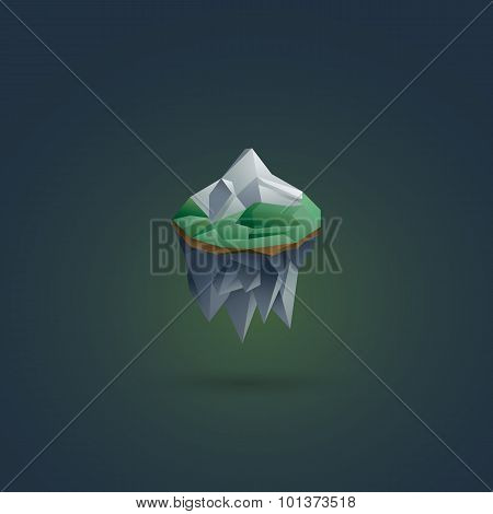 Earth element symbol. Polygonal floating island. 3d low poly design.
