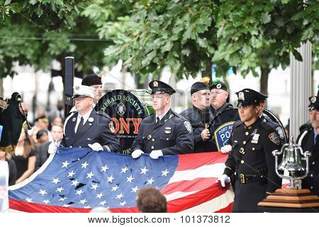 FDNY honor guard with US flag