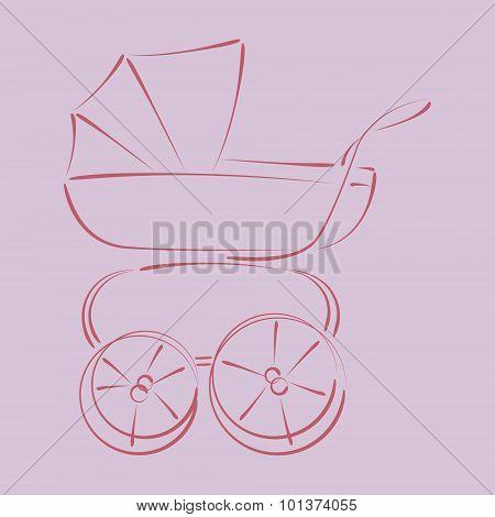 Sketched baby stroller buggy.