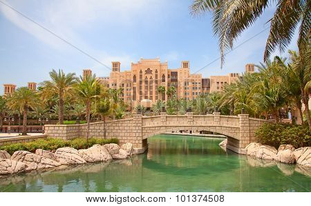 DUBAI, UAE - APRIL 18: Facade of the Souk Madinat Jumeirah. April 18, 2014 in Dubai. Madinat Jumeirah is luxury hotel, entertainment anf shopping center on Jumeirah beach.