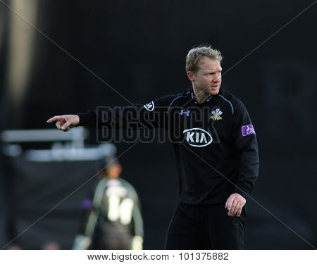 LONDON, ENGLAND - 07 SEPTEMBER 2015:  The Royal London One Day Cup semi-final match between Surrey and Nottinghamshire at the Kia Oval Cricket Ground, on September 07, 2015 in London, England.