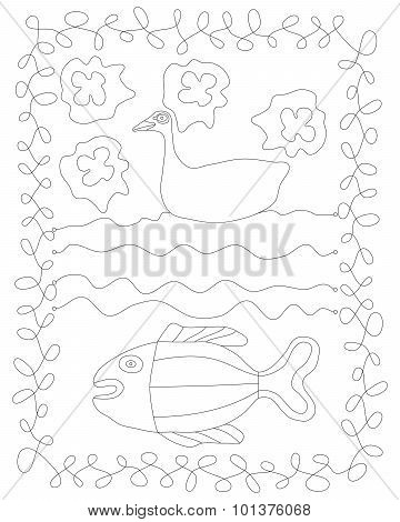 Contour line drawing with duck, water and fish.