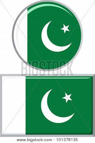 Pakistani round and square icon flag. Vector illustration.