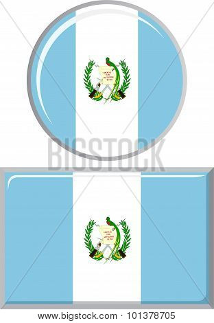 Guatemalan round and square icon flag. Vector illustration.