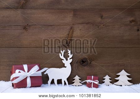 Wooden Christmas Background With Snow Gifts Trees