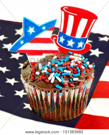 Patriotic Cupcake On Flag With Star And Tophat Picks.
