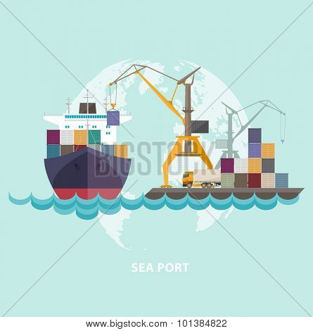 Cargo seaport with ship and cranes.
