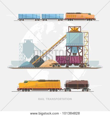 Rail transportation. Flat design.