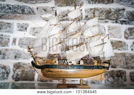 Budva, Montenegro - September 5, 2015: Wooden Replica Of The Old Vessel Sailfish As Ship Model In A