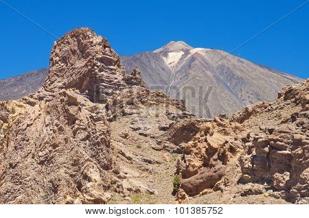 famous volcanic landscape in Teide National Park Tenerife Canary islands Spain.
