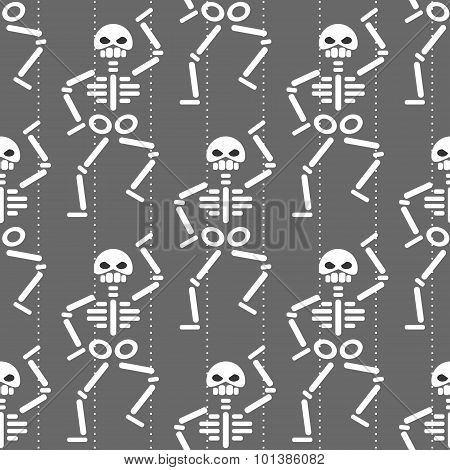 repeating pattern with dancing skeleton