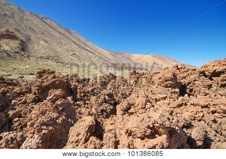Beautiful volcanic landscape in Teide national park Tenerife canary islands Spain.