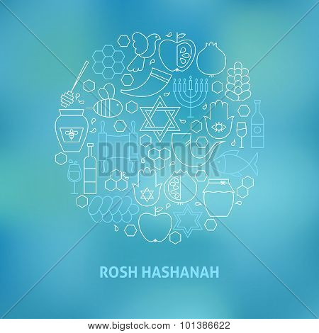Thin Line Jewish New Year Holiday Icons Set Circle Shaped Concept