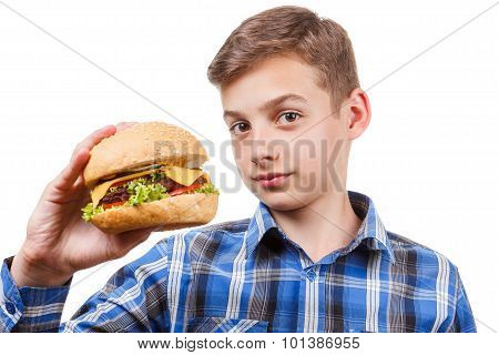 Guy Looks At The Burger And Was Going To Eat It