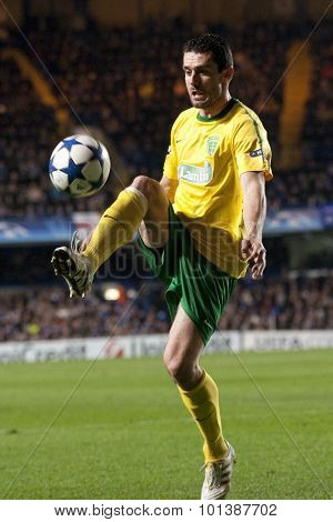 LONDON ENGLAND 23 NOVEMBER 2010. MSK Zilina's forward Tomas Oravec in action during the UEFA Champions League match between Chelsea FC and MSK Zilina, played at Stamford Bridge.