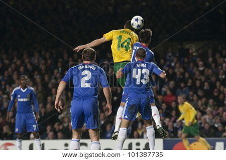 LONDON ENGLAND 23 NOVEMBER 2010. MSK Zilina's forward Tomas Oravec out jumps the Chelsea defence during the UEFA Champions League match between Chelsea FC and MSK Zilina, played at Stamford Bridge.