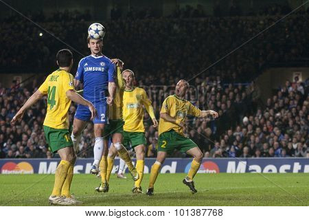 LONDON ENGLAND 23 NOVEMBER 2010.Chelsea's defender Branislav Ivanovic heads the ball during the UEFA Champions League match between Chelsea FC and MSK Zilina, played at Stamford Bridge.