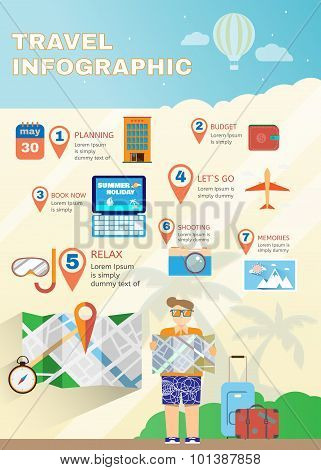 Vacation Planner Flat Summer Infographics.
