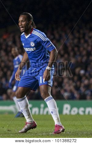 LONDON ENGLAND 23 NOVEMBER 2010. Chelsea's forward Didier Drogba  in action during the UEFA Champions League match between Chelsea FC and MSK Zilina, played at Stamford Bridge.
