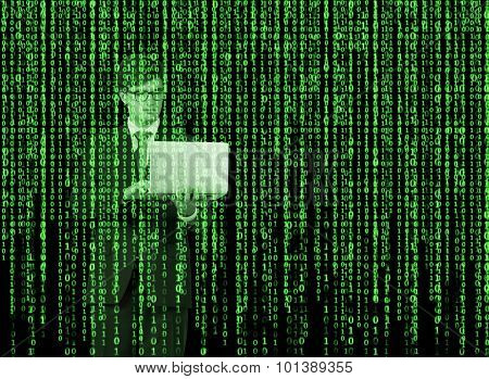 Digital Hologram In A Matrix Style. A Person With Laptop Is Browsing Data In The Internet. Green.