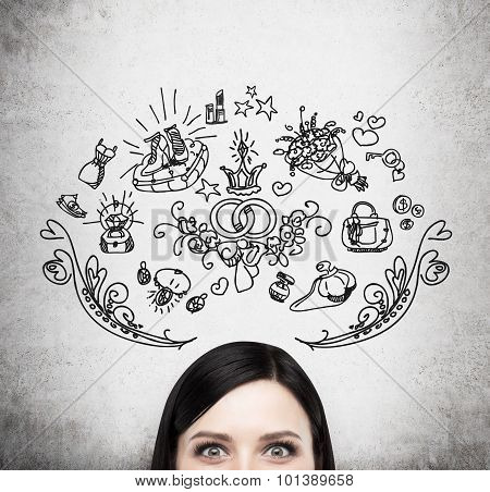 Forehead Of Brunette Woman. Thoughts About Marriage And Gifts. Shopping Concept. Gift Icons Are Draw