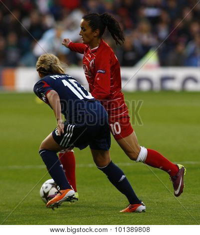 LONDON, ENGLAND. 26 MAY 2011 Lyon's  Louisa Necib and Potsdam's midfielder Fatmire Bajramaj during the 2011UEFA Women's Champions League final between FFC Turbine Potsdam and Olympique Lyonaise