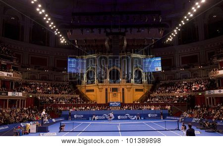 LONDON, ENGLAND. 05 DECEMBER 2009 -    a general view of the preliminary match in the season finale to the ATP Champions Tour match during the AEGON Masters Tennis, Royal Albert Hall, London.