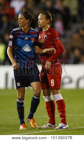 LONDON, ENGLAND. 26 MAY 2011 Lyon's forward Lotta Schelin and Potsdam's defender Josephine Henning during the 2011UEFA Women's Champions League final between FFC Turbine Potsdam and Olympique Lyonaise
