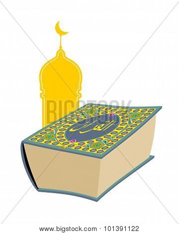 Quran. Sacred Book Of Muslims. Big Thick Book And Mosque. Text On  Book In Arabic