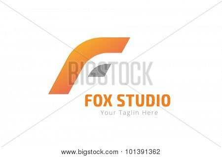 Fox or lion abstract face logo vector template. Lion or Fox  logo. Lion or Fox symbol. Modern flat monogram. Developers logo. Letter F style. Coding, website, lion, fox. F brand, F logo, F icon