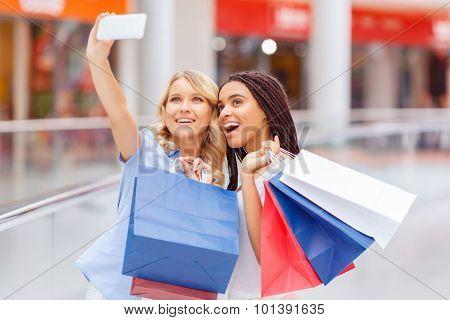 Pretty girls making shopping