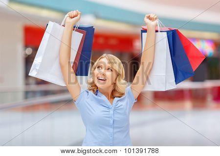 Charming girl shopping