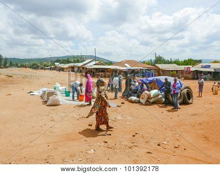 Market Place In Tanzania Small Village.