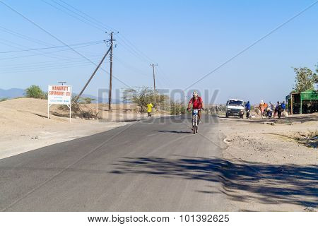 Man On The Bicycle In Kenya.