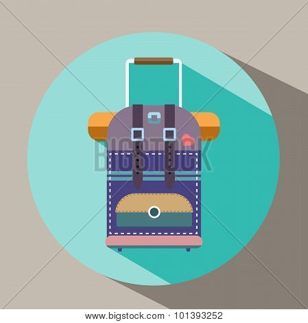 Tourist Bag With Wheels And Handle Flat Icon.