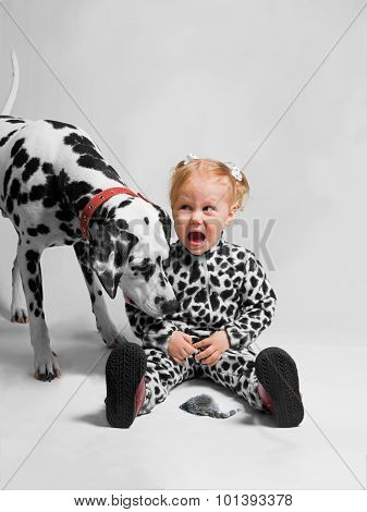 Girl Dressed As Dalmatian Afraid Mouse