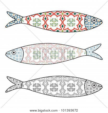 Traditional Portuguese Icon. Colored Sardines With Typical Portuguese Tiles Patterns. Vector Illustr